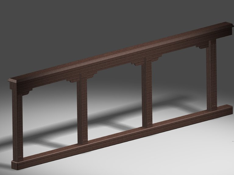 PHOTO RENDERING OF AN ALTAR RAIL DRAWN IN SOLIDWORKS