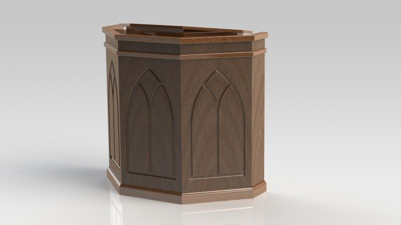 PHOTO RENDERING OF A PULPIT DRAWN WITH SOLIDWORKS (not an actual pulpit)