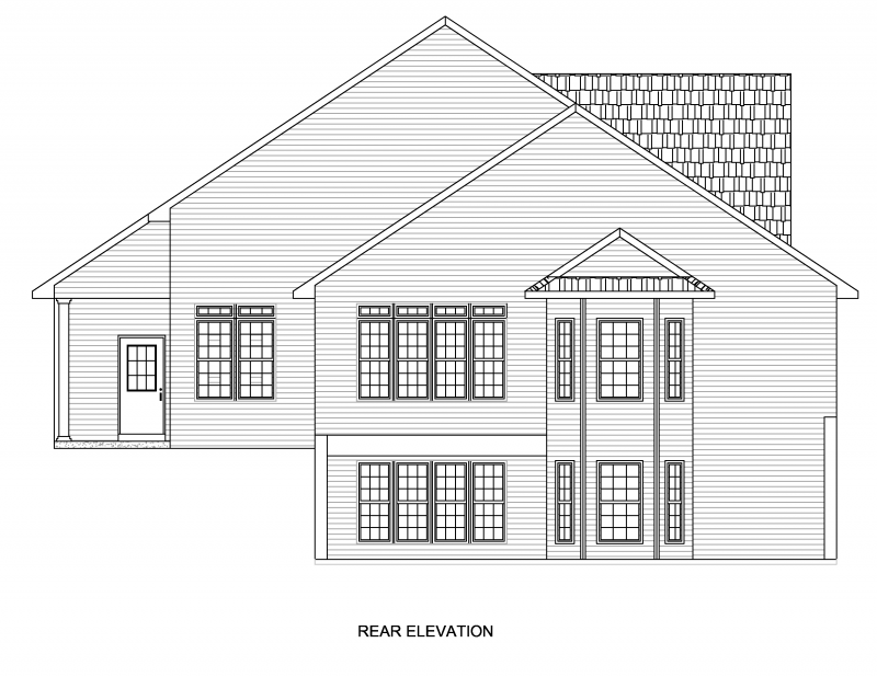 REAR ELEVATION - NOTICE THE WALK OUT BASEMENT